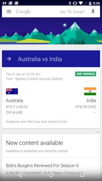Google Now - Australia Cricket Card