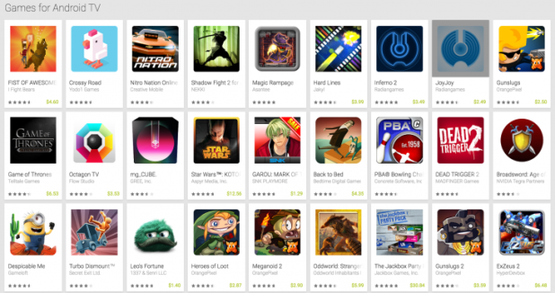 Android TV Games - Note: There are much more available in the focus