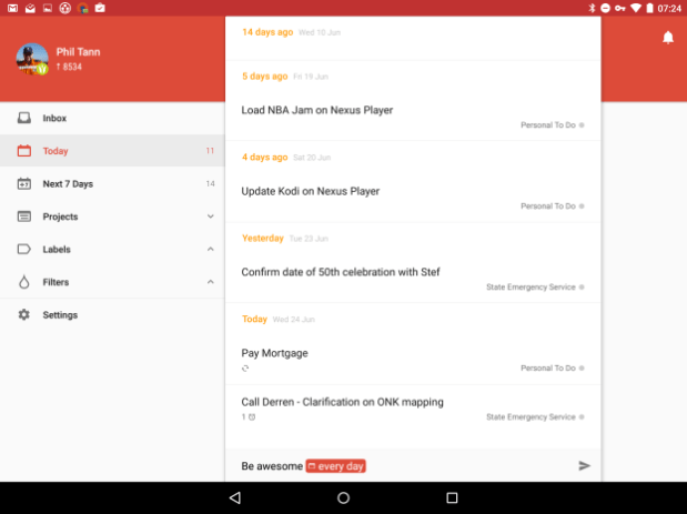 Todoist update brings material design and tablet interface - Ausdroid