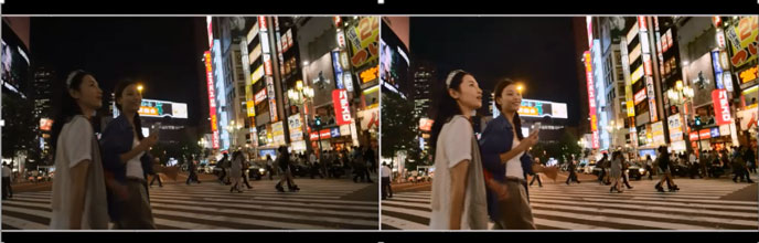 Example of a low light video (left) improved with low light video processed by the Hexagon 680 DSP (right)