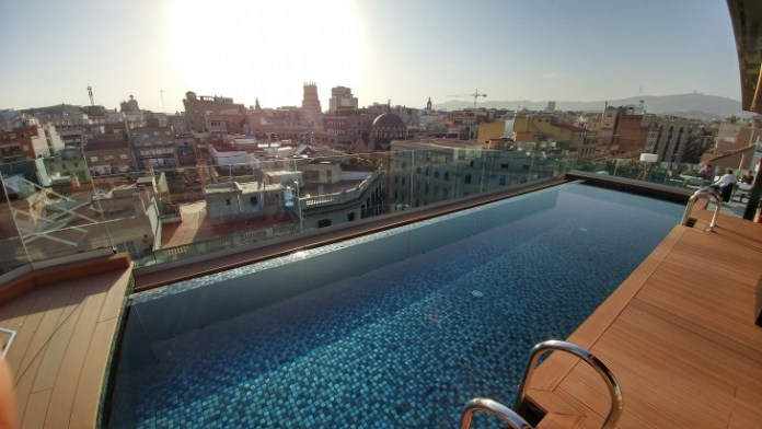 Wide angle of the pool deck