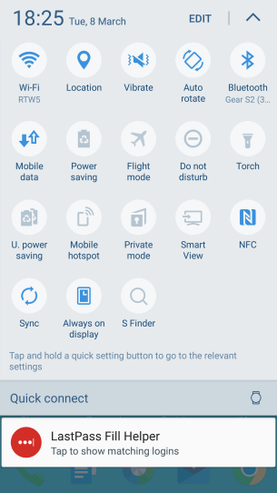 The expanded notification drawer