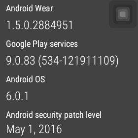 Android Wear Security Patch Date