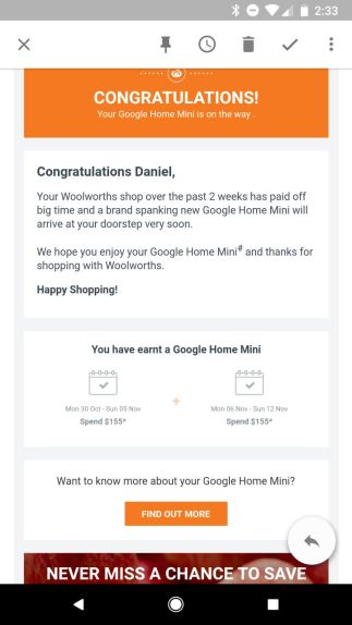 Woolies Google home Mini 1