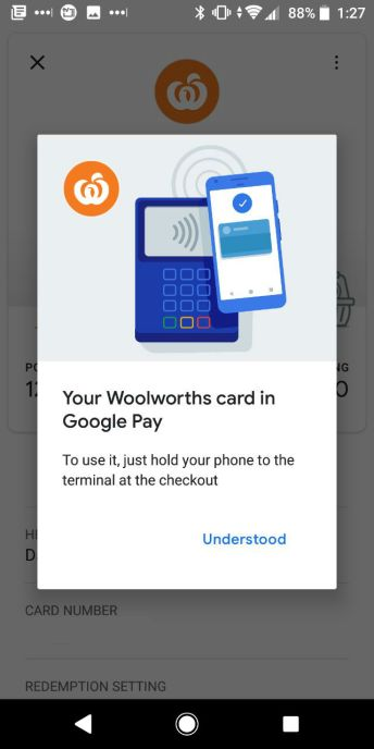 Google Pay Woolworths Rewards Add 2