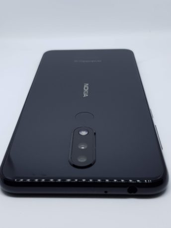 3.5mm audio jack with mic and rear of the Nokia 5.1 Plus