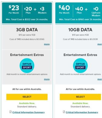Optus Mobile Broadband Plans 1