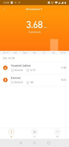 MiBand Exercise Tracking