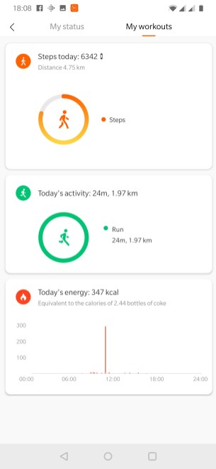 MiBand Workout Summary