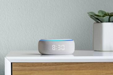 Amazon Echo Dot with Clock on sidetable