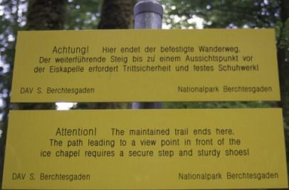 Ende des befestigten Wanderweges.