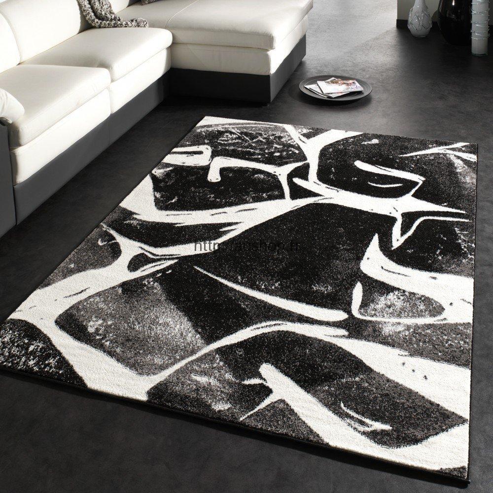 tapis noir gris blanc design enredada