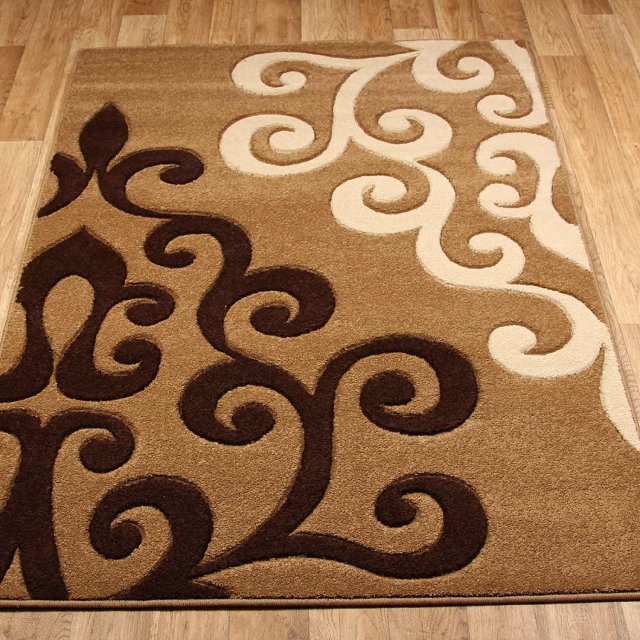 Tapis design et modernes pas cher, grands tapis salon marron, beige ...