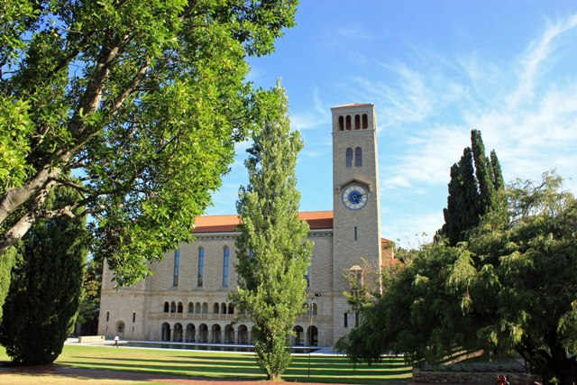 A view of Winthrop Hall and the clock tower at the University of Western Australia.
