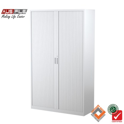 Ausfile tambour door cabinets white 1980mm H x 1200mm W