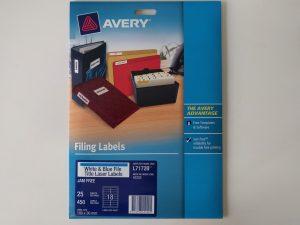 Avery L7172 filing labels light blue