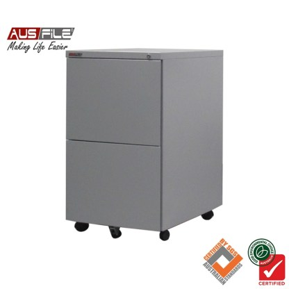 Ausfile Mobile Pedestal 2 File Drawers Silver Grey