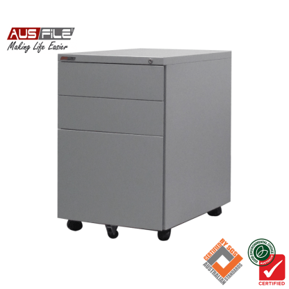 Ausfile Mobile Pedestal with 2 Pen Drawers and 1 File Drawer Silver Grey