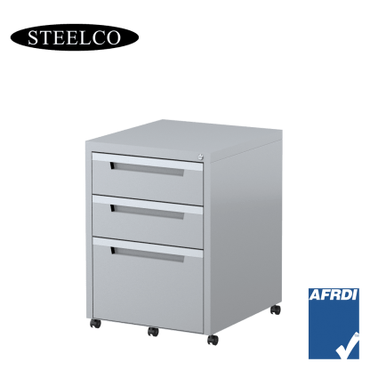 STEELCO Classic Mobile Pedestal Silver Grey 2 Box Drawers 1 File Drawer