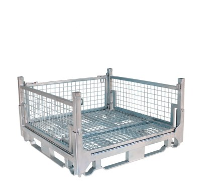 Pallet Cage Type A Single Mesh Floor Zinc Plated one side folded down