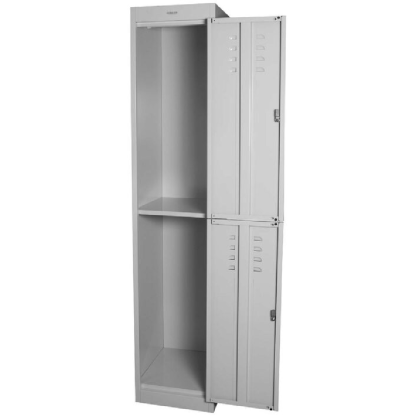 SteelCo Locker 2 Door 305mm Wide Silver Grey Open