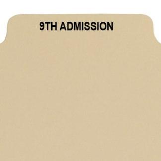 9th admission divider buff manilla