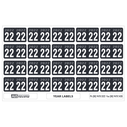 Ausrecord Sheets of 20 24mm 2022 Year labels