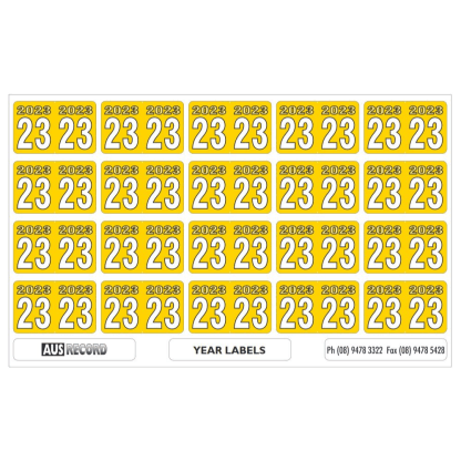 Ausrecord Sheets of 20 24mm 2023 Year labels