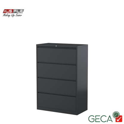Ausfile 4 Drawer Lateral Filing Cabinet Graphite with Ausfile and GECA badges
