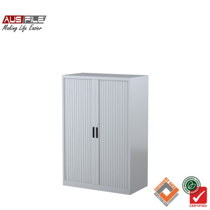 Ausfile tambour door cabinets silver grey 1340mm H x 900mm W