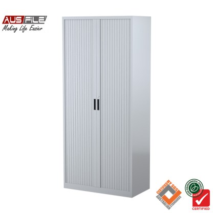 Ausfile tambour door cabinets silver grey 1980mm H x 900mm W