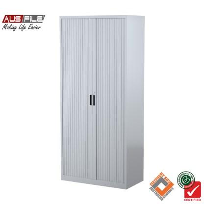 Ausfile tambour door cabinets silver grey 1980mm H x 900mm W