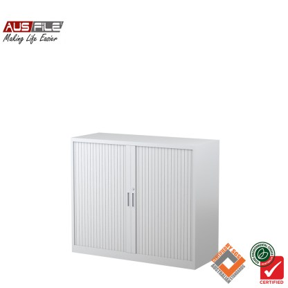 Ausfile tambour door cabinets white 1020mm H x 1200mm W