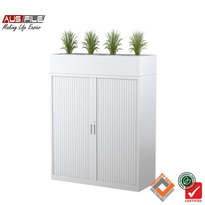 Ausfile tambour door cabinets white 1340mm H x 900mm W with planter box