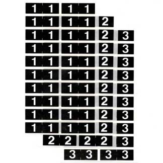 Half (1/2) size numeric labels, black and white