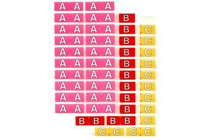 Half size colour alphabet label sheets