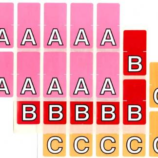 Top tab colour alphabet labels sheets