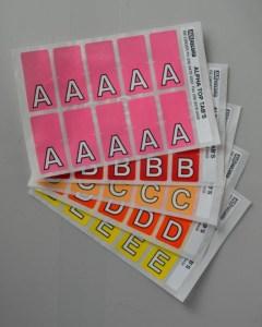 Top tab colour Alphabet labels. Full alphabet set