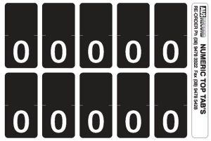 Top Tab Number labels. B&W. Sheet of 0