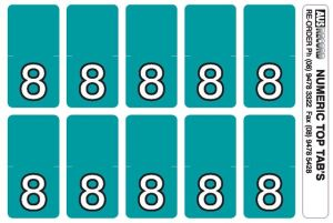 Top Tab Number labels. Sheet of 8