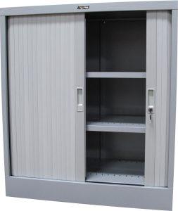 Tambour Door Unit. Silver Grey. 1200H/900W/465D