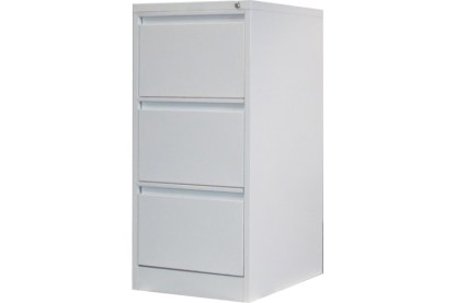 3 drawer steel filing cabinet in white