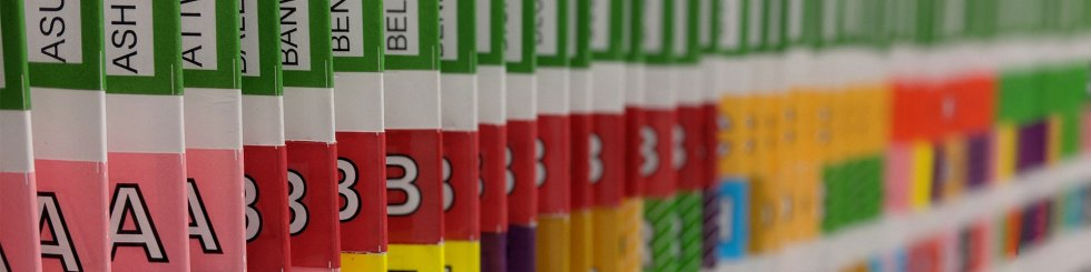 Alphabetical colour coded filing system