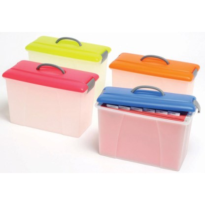 crystalfile plastic carry case 18l colour lid clear base