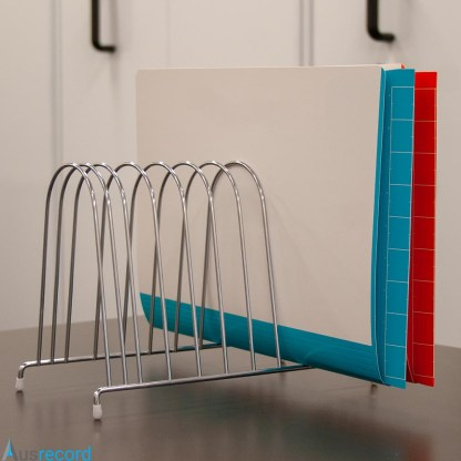 ausrecord silver wire desktop file organiser pictured with files