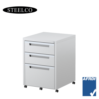 STEELCO Classic Mobile Pedestal White Satin 2 Box Drawers 1 File Drawer