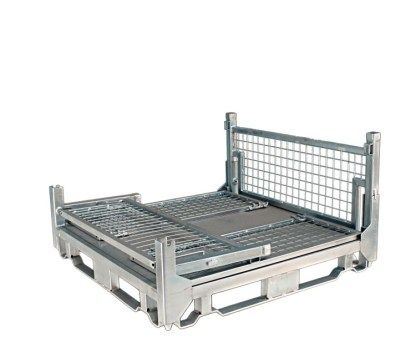 Pallet Cage Type A Sheet steel floor zinc plated 3 sides folded down