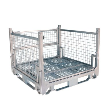 Pallet Cage Type A Single Medium Mesh floor hot dip galvanised one full side down