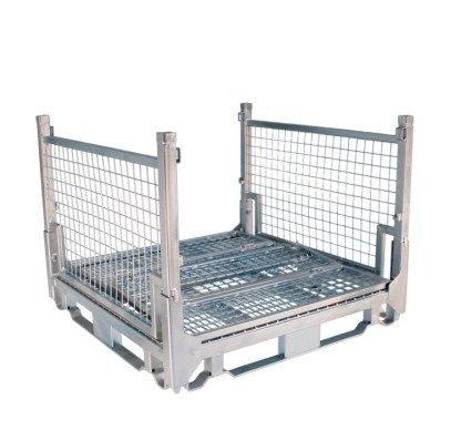 Pallet Cage Type A Single Medium Mesh floor hot dip galvanised two full sides down