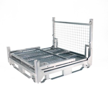 Pallet Cage Type A Single medium sheet steel floor zinc plated three sides folded down